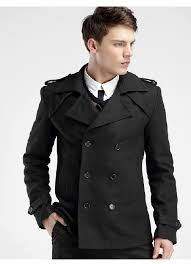 double ted black wool pea coat