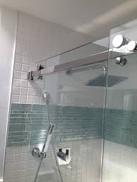 bathroom wall glass tile ideas top gray glass tile shower room with glass mosaic accent with