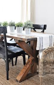 Kitchen Table Farmhouse Style X Brace Farmhouse Table Runners Industrial And The Plant