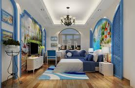 The Mediterranean Style Bedroom With Blue Elements