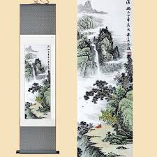 chinese silk watercolor ink waterfall art mountain sunrise landscape feng shui canvas wall picture damask framed on damask framed wall art with chinese silk watercolor ink waterfall art mountain sunrise landscape