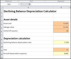 Fixed Asset Depreciation Calculator Declining Balance Depreciation Calculator Double Entry Bookkeeping