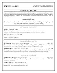 Resume Template Phlebotomist Resume Sample Free Career Resume