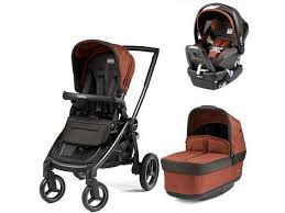 peg perego team stroller with primo viaggio nido car seat terracotta