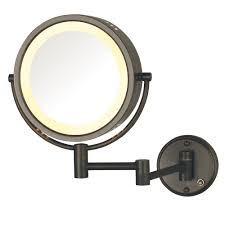lighted wall mirror in bronze