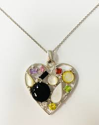 an image relevant to this listing multi gemstones heart shaped pendant