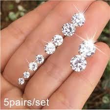 5Pairs/ <b>Set</b> Crystal Wedding <b>Elegant</b> Stud <b>Earrings Set</b> Jewelry ...
