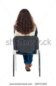 person sitting in chair back view png. back view of young beautiful woman sitting on chair. girl watching. rear people person in chair png