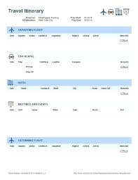 Itinerary Travel Template Travel Itinerary Template Best Ideas On Pages Word 2013 Meeting
