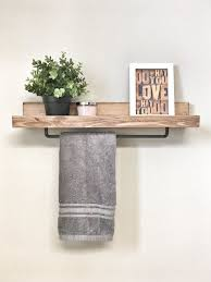 Towel rack with shelf Oil Rubbed Bronze Use Towel Rack In Kitchen Instead Of Under The Sink Pinterest 24 Inch Rustic Wood Towel Rack Shelf Ledge Shelves Wooden Rack