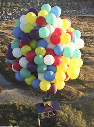 Up House Balloons Fan Of Pixar Movie Up Takes To The Skies In A House By Tying