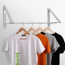 jerrybox retractable clothes hanger racks adjule wall mounted aluminum alloy hanging system for living room bathroom bedroom and office pack of 2
