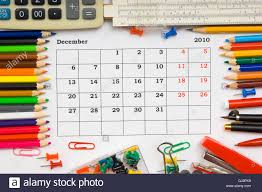 Monthly Calendar With Office And Stationery For December 2010 Stock