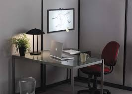 home office den ideas. Beautiful Minimalist And Small Office Decor With Red Chair In Front Of The Grey Desk Home Den Ideas