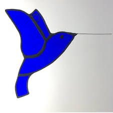 blue stained glass hummingbird