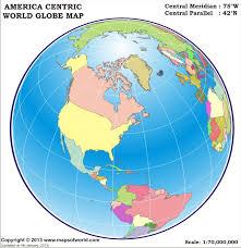 World Globe Map America Centric