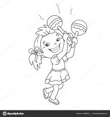 Small Picture Coloring Page Outline Of cartoon girl playing the maracas Musical