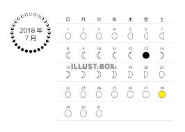 無料イラスト 2018年7月 月齢カレンダー