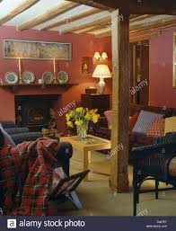 Terracotta Living Room Tartan Throw On Sofa In Terracotta Red Country Living Room With