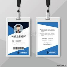 company id card templates corporate id card template with blue details buy this stock vector