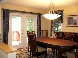 Dining Room : Interesting Bowl Shape Lighting For Dining Room With Oval  Shape Wooden Dining Table And Black Floral Curtain Idea Choose Appropriate  Lighting ...