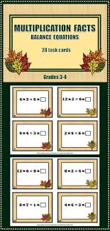 multiplication facts balance equations 28 fall themed task cards 2 50