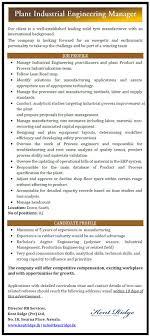 plant industrial engineering manager job vacancy in sri lanka engineering polymer science industrial management production engineering very good communication skills analytical skills technical skills