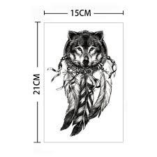 Dočasné Tetování Decal Vodotěsné Vlk Peří Body Rakety Umění Přenesení At Vova