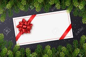 Holiday Gift Card Template Holiday Gift Card With Red Bow Christmas Fir Tree Branches On