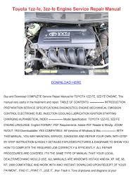 Toyota 1zz Fe 3zz Fe Engine Service Repair Ma by Kasey Lassen - issuu