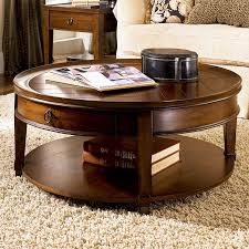 ... Coffee Table, Cool Brown Traditional Wood Round Coffee Table Sets With  Storage Design: Amusing ...