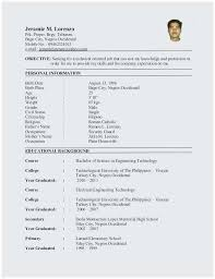 Resume For Engineering Sample Resume For Ojt Mechanical Engineering Students Popular Model