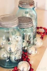 Mason Jar Holiday Decorations Vintage Christmas Vintage Teal Blue Mason Jar filled with 88