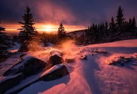 Snow Sunset Wallpapers on WallpaperDog