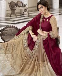 Stunning Designer Sarees Tl Stunning Maroon Beige Georgette Russel Net Designer