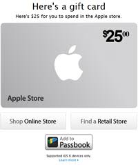 apple gift card. apple gift cards now support passbook. card