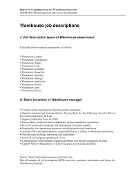 Best Ideas Of Warehouse Job Duties Resume Stunning Warehouse