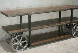 Custom Made Industrial Trolley Cart/ Media Console, Reclaimed Wood Tv  Stand, Console Table