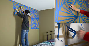 geometric wall paintVIDEO She Tapes A Strange Pattern On Her Wall Then Paints Over It