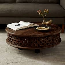 carved wood coffee table west elm round coffee table wood