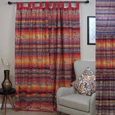 handmade cotton tab top curtain d panel paisley good luck elephant available in 3 colors
