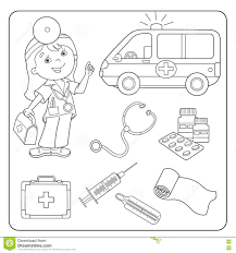 first aid coloring pages. Perfect Pages Coloring Page Outline Of Doctor Set Of Medical Instruments With First Aid Pages I