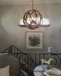 image of driftwood orb chandelier