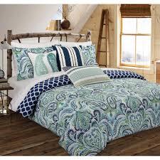 nouvelle home painterly paisley fl blue king comforter set csm002ckbl the home depot