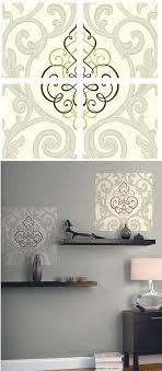 on damask sticker wall art with beige black center damask decorifex wall sticker