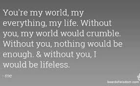 Life Line Quotes 100 You Are My World Quotes You are My Everything Quotes 100 76