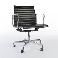 office chair genuine leather white. Black Herman Miller Original Eames Leather EA117 Office Alu Group Chair Genuine White T