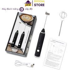 hàng tốt ] máy đánh trứng cầm tay 3 tốc độ sạc pin loại mới, máy tạo bọt  cafe và làm cappuchino tại nhà, 2 đầu khuấy inox, máy đánh trứng