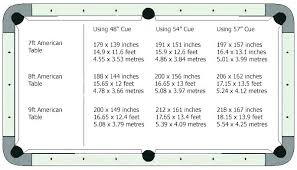 Pool Table Sizes Chart Pool Tables Sizes Standard Pool Table Height Pool Table