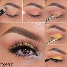 canary yellow brown eye makeup look